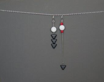Assymetric earrings Mismatched earrings Long earrings Beaded earrings Thin Dainty earrings Agate earrings White Black Red earrings Modern