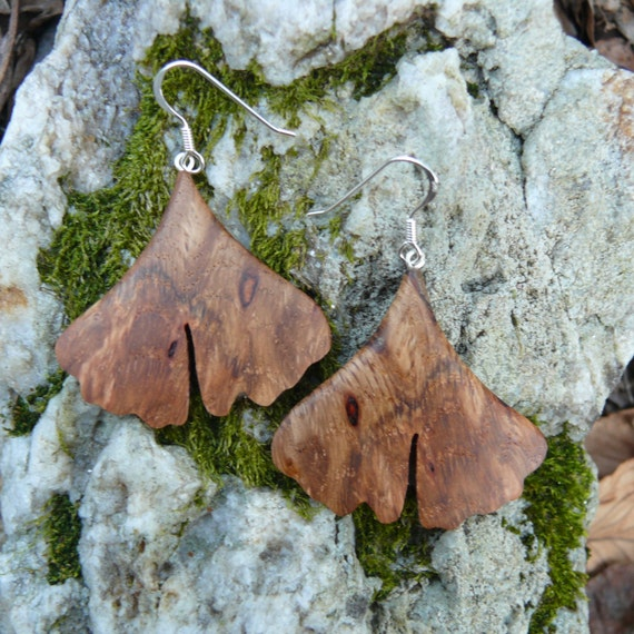 Wood Ginkgo leaf earrings, Nature inspired jewelry, Earthy earrings, Ginkgo leaf jewelry, Boho Hippie Wood earrings