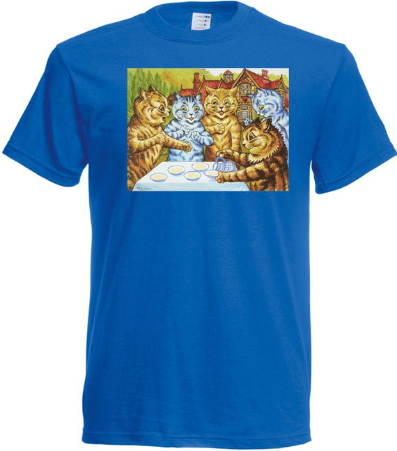 Louis Wain Garden Party Cats T shirt. classic round neck short sleeved choice of sizes and colours,
