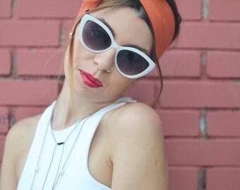 Orange Head Scarf, Orange Head Bow, Bow Headbands, Woman Top Knot, Linen Head Wrap, Pin Up Headband, Bow Headband, Unique Gift, Women Scarf