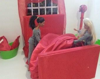 Barbie Sheets. Fitted Satin Sheet Set for Barbie. Barbie furniture. Dollhouse Bedding. Barbie bed. Barbie Bedding.  Barbie Doll Furniture.