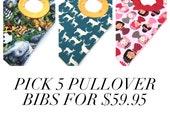 Toddler Bibs - Baby Gift Set - Baby Bibs - Baby Shower Gift - Pullover Bibs - 5 Large Bibs - Gender Neutral Bibs - Baby Girl Bibs - Boy Bibs