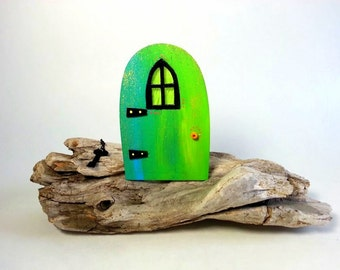 Green handpaint little fairy door with window,miniature world,fairy garden