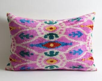 ikat pillow cover, pink velvet pillow cover, toss pillow, decorative pillows, handmade, ikat velvet, silk, pillow covers, designer pillow
