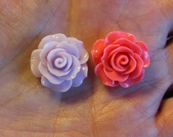 8 resin cabochons roses, 18-20 mm x 9 mm, 2 pairs light lavender and 2 pairs hot pink  roses, flat back
