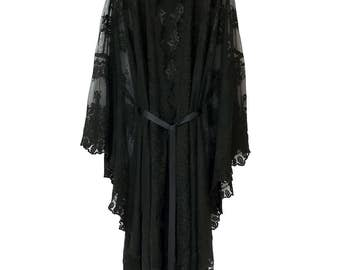 Black Lace Kaftan / kimono with scallop edging in embroidered tulle lace unlined