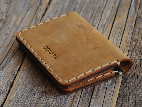 PERSONALIZED Brown Leather Wallet. Credit Card Holder. Pockets for Cash or ID. Rustic Style, Unisex Pouch. Monogram your name!