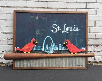 "Reclaimed Wood ""Birds On Bat"" Sign / St. Louis Cardinals Baseball Sign / Birds on a Bat / Cardinals Baseball"