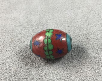 Vintage Chinese Cloisonne Enamel Bead Oval with Stars from Deco Era