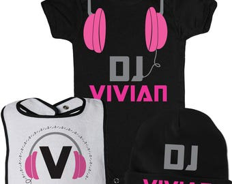 DJ Baby Girl Gift, Rock and Roll Baby Shower Gift, Headphones Baby Shirt