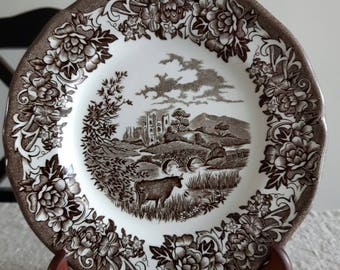 "J&G Meakin transferware plates ""Romantic England"" series / brown white ironstone bread and butter plates, cows, country scene, wall decor"