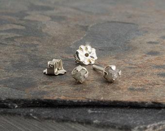 Tiny Rough Diamond Stud Earrings, Stud Earrings Post Earrings Silver Earrings Gemstone Earrings,Stone Earrings