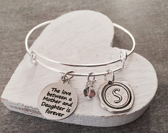 The love between, a mother and ,Daughter is forever, Mother, Mother quote, Mother Daughter,  Silver Bracelet, Charm Bracelet, Keepsake