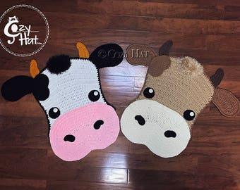 READY TO SHIP! Molly the Cow Rug. Hand Crocheted. Only One Available on Sale!