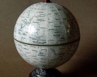 Beautiful Custom Refit Vintage Moon Globe. Elegant Compact Desktop Replogle Lunar Globe on Acid Etched Steel and Hardwood Footed Stand.