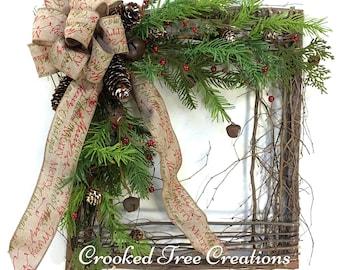 Christmas Wreath, Holiday Wreath, Square Wreath, Rustic Wreath, Christmas Wreaths, Woodland Wreath, Winter Wreath, Christmas Square, Rustic