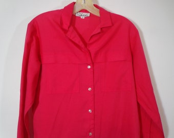Bright Red True Vintage Silk Blend Button Down Blouse Shirt with Collar, Colorful Retro Fashion