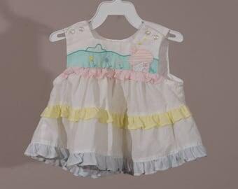 0-3mo: Vintage Baby Sundress, 1980s Appliqued Sundress