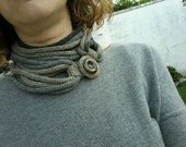 RESERVED for NORIKO. Textile sand and grey tones necklace, knitted jewelry. Hypoallergenic jewelry nichel free. Fall season jewelry.