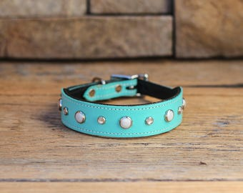 Sniffany & Co. Leather Dog Collar // Pearls and Crystals