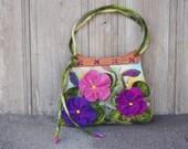 Designer felted bag, large felt handbag, shoulder bag with pocket, bohemian fashion, 3D spring  flowers, wooden handcrafted handles, OOAK