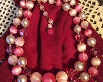 Vintage 1950s 1960s Necklace 2 Strand Pink Beads Lightweight