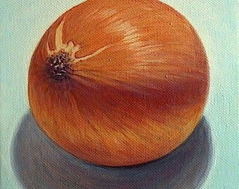 Kitchen art - 'Turquoise Onion' - original painting - 6x6 - still life - food art - oil - sienna - vegetable -realistic - onion painting