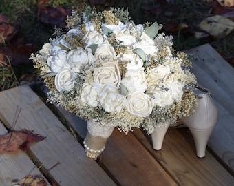 Wedding Bouquet Ivory Bouquet Peony Rose Sola Bouquet Spring Bouquet Gold Bouquet Woodland Bouquet Sola Bouquet Rustic Bouquet Gold