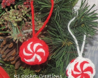 Peppermint Candy Crocheted Christmas Ornament Red and White Striped Set of Two