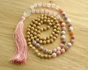 Mala Necklace - 108 Mala Beads Necklace with silk Tassel - Rose Quartz, Botswana Agate, Sandalwood