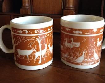 Pair of Vintage Taylor & NG Mugs with Deer and Ducks