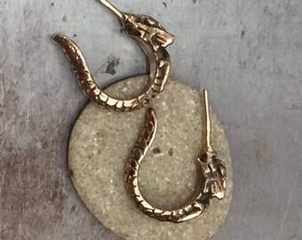 Gold Dragon Hoop Earrings, 9k hoop earrings, 14k gold dragon earrings, Dragon Hoops, Solid Gold Dragon Earrings