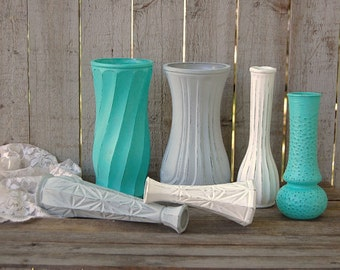 Shabby Chic Vases, Grey, Aqua, White, Turquoise, Blue, Hand Painted, Distressed, Glass, Wedding Decor, Set of 6, Centerpiece, Rustic
