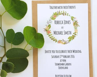 Boho Spring Floral Wreath Wedding Invitation x 25 - WI09