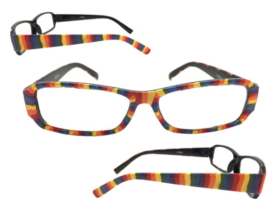 s 2 0 strength painted rainbow reading glasses