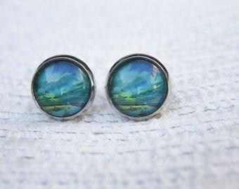 Polar Light Earrings, Aurora Borealis, Aurora Australis, Northern Lights, Southern Lights, Small Studs, Glass Dome Earrings, Post Earrings