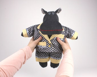 Dress up doll stuffed animal -Gift for kids -Plush hippo -Soft doll hippopotamus -I want a hippopotamus for Christmas -Gender neutral toy
