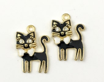 2  cat gold and enamel charms, 28mm # ch522
