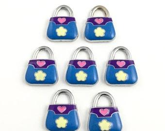 7 handbag silver tone and enamel charms, 16mm to 21mm# CH 098