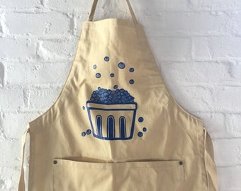 Blueberry Apron, Kitchen Apron