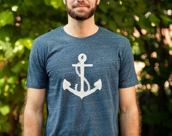 Anchor Flash - men - fair wear T-Shirt - Heather denim