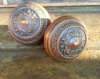 Decorative Antique Brass Doorknob Set With Deeply Cast Ornate Patterns