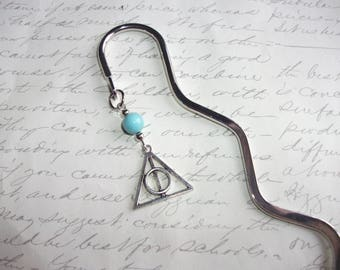 Deathly hallows bookmark with turquoise stone