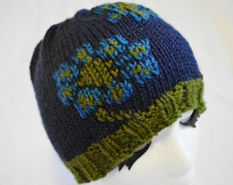Navy and olive floral toboggan, handknit loden and navy toboggan with big blue flowers, beanie with floral embroidery, daisies and stems hat