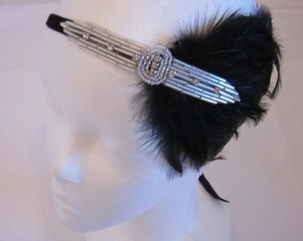 Black 1920s headband, black feather headpiece, silver great gatsby feather fascinator, Downton Abbey flapper headband, rhinestone crystal