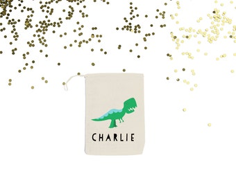 T-Rex {set of 10} Dinosaur Personalized Muslin Party Favor Bags