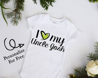 I Love My Uncle CUSTOMIZE NAME and Heart Color Baby Bodysuit