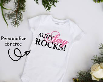 My Aunt ROCKS PERSONALIZED NAME and Color Baby Neutral bodysuit Baby Top Aunt and Uncle Gift