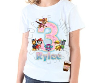 Girls Paw Patrol Birthday Shirt Iron-on! Customized to your childs name and age!