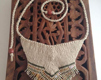 Serendipity Goddess - Macrame Statement Necklace, Natural Hemp, Tie On, Beaded
